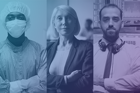 Triptych of client audience image