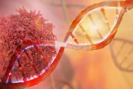 Illustration of red cancer cell, behind double strand of DNA, against orange background