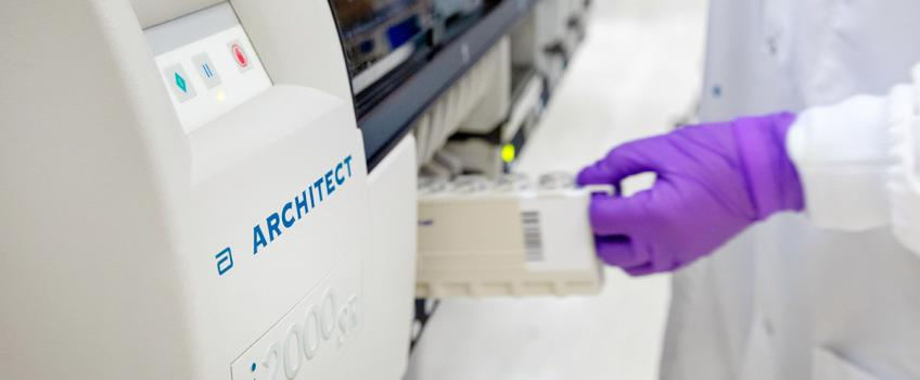 Abbott's Architect instrument, on which its Covid-19 antibody test is run.