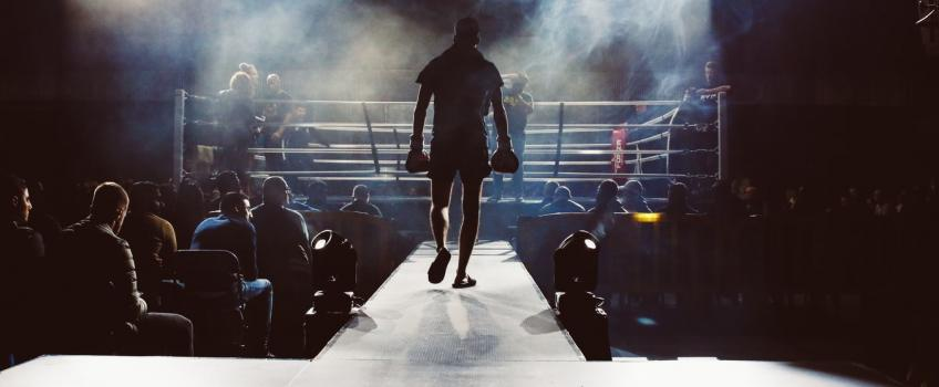 Boxer walking to ring at the start of a fight