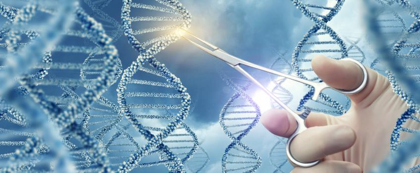 Hand holding tweezers inserting sequence into blue DNA strand, against blue background