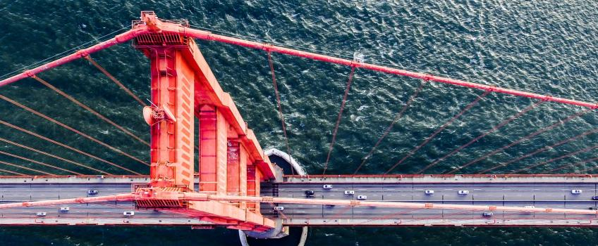 Aerial view of San Francisco's Golden Gate bridge