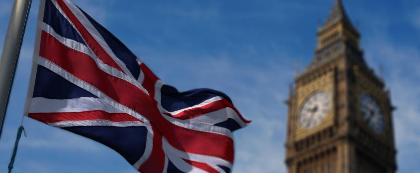 UK Union flag flying in front of Big Ben