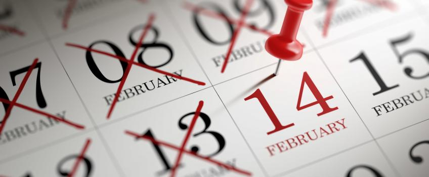 Calendar pin 14th Feb