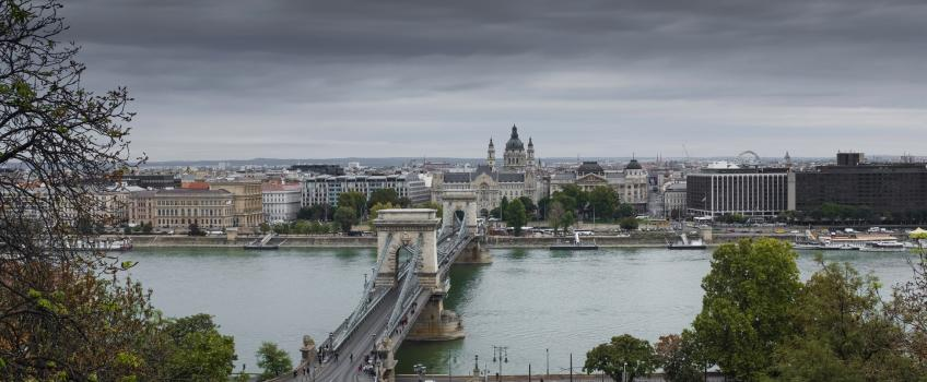 The Danube river, as seen in Budapest, Hungary.
