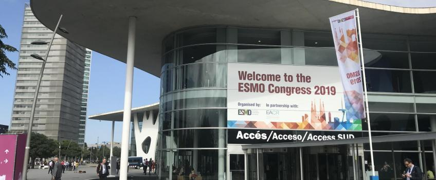 Esmo 2019 sign on Barcelona conference centre